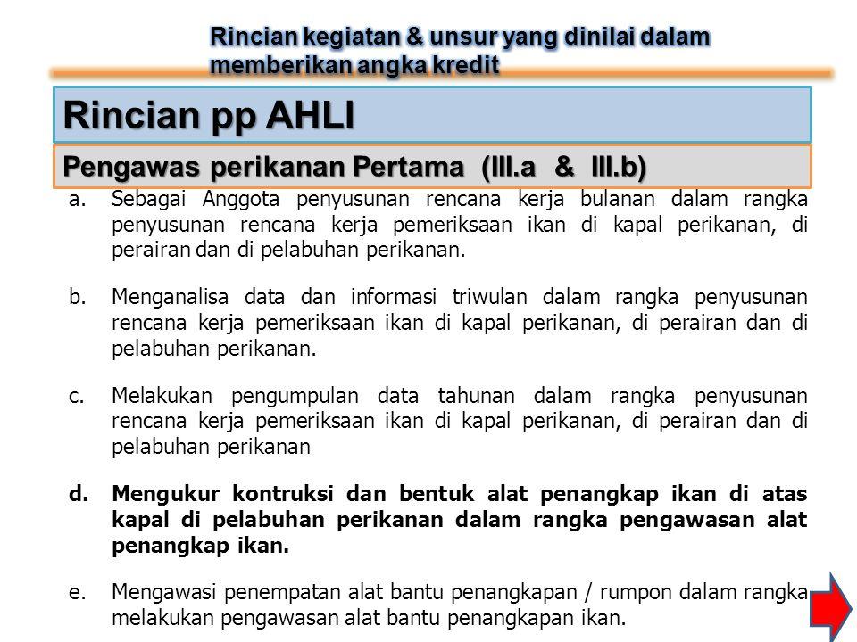 Rincian pp AHLI a.Sebagai Anggota penyusunan rencana kerja bulanan dalam rangka penyusunan rencana kerja pemeriksaan ikan di kapal perikanan, di perai