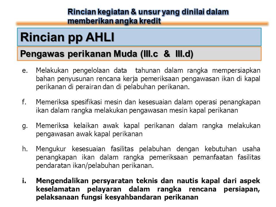 Rincian pp AHLI Pengawas perikanan Muda (III.c & III.d) e.Melakukan pengelolaan data tahunan dalam rangka mempersiapkan bahan penyusunan rencana kerja