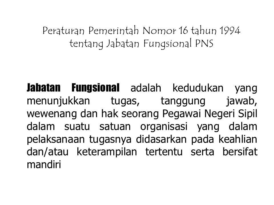 Peraturan Pemerintah Nomor 16 tahun 1994 tentang Jabatan Fungsional PNS Jabatan Fungsional adalah kedudukan yang menunjukkan tugas, tanggung jawab, we