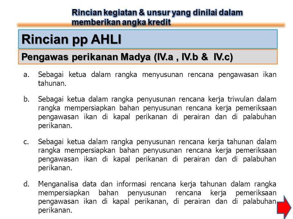 Rincian pp AHLI Pengawas perikanan Madya (IV.a, IV.b & IV.c) a.Sebagai ketua dalam rangka menyusunan rencana pengawasan ikan tahunan. b.Sebagai ketua