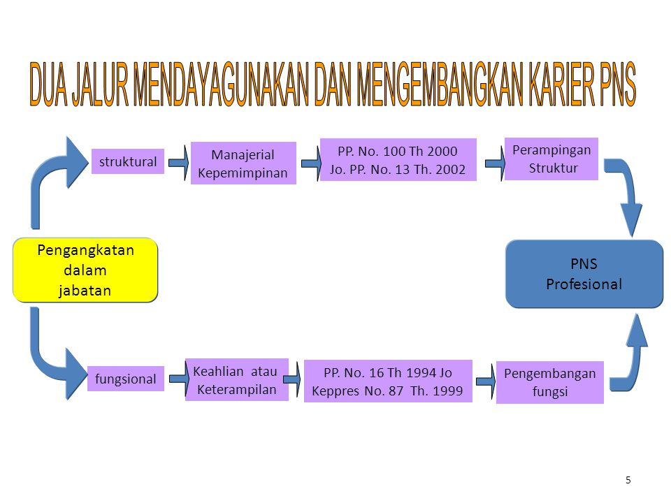 5 Pengangkatan dalam jabatan PNS Profesional struktural Manajerial Kepemimpinan PP. No. 100 Th 2000 Jo. PP. No. 13 Th. 2002 Perampingan Struktur fungs