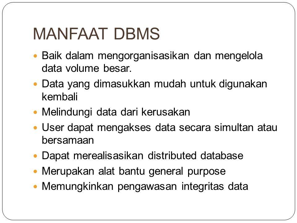 MANFAAT DBMS Baik dalam mengorganisasikan dan mengelola data volume besar.