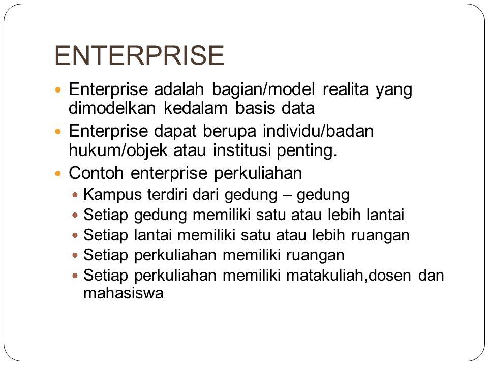 ENTERPRISE Enterprise adalah bagian/model realita yang dimodelkan kedalam basis data Enterprise dapat berupa individu/badan hukum/objek atau institusi penting.