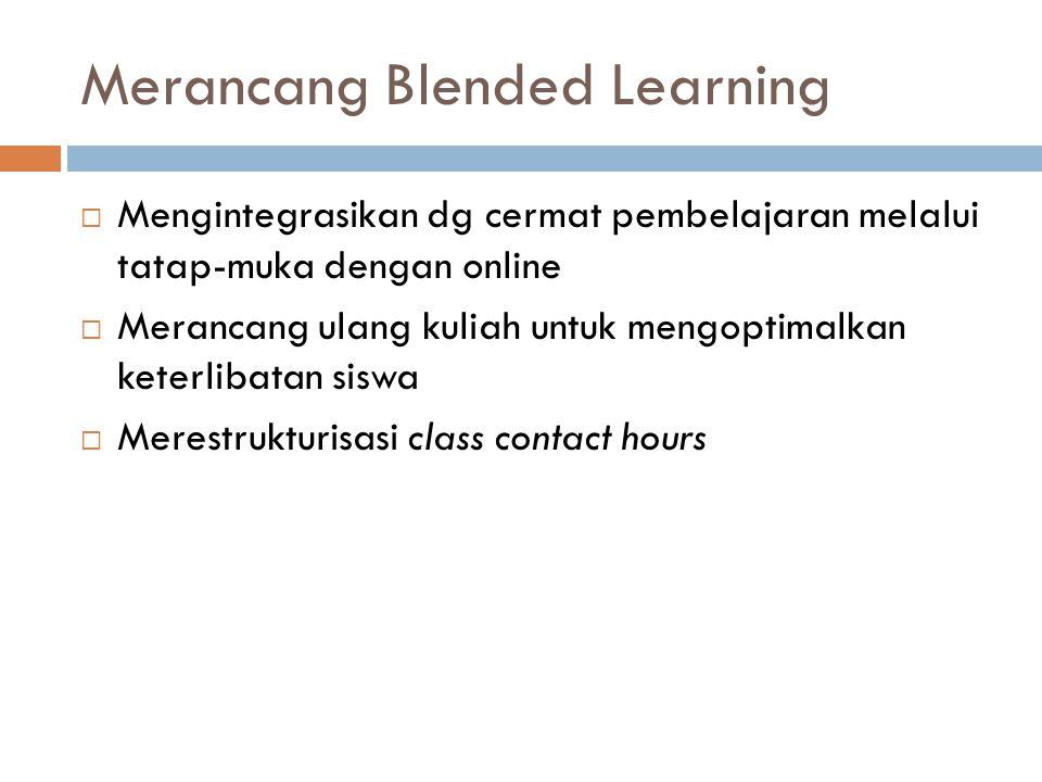 Merancang Blended Learning  Mengintegrasikan dg cermat pembelajaran melalui tatap-muka dengan online  Merancang ulang kuliah untuk mengoptimalkan keterlibatan siswa  Merestrukturisasi class contact hours
