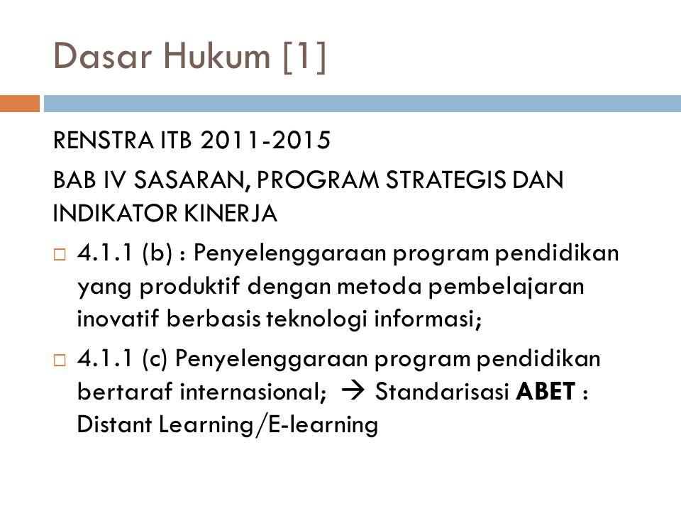 Dasar Hukum [1] RENSTRA ITB 2011-2015 BAB IV SASARAN, PROGRAM STRATEGIS DAN INDIKATOR KINERJA  4.1.1 (b) : Penyelenggaraan program pendidikan yang produktif dengan metoda pembelajaran inovatif berbasis teknologi informasi;  4.1.1 (c) Penyelenggaraan program pendidikan bertaraf internasional;  Standarisasi ABET : Distant Learning/E-learning