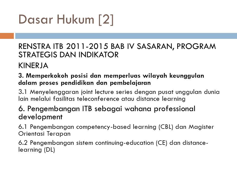 Dasar Hukum [2] RENSTRA ITB 2011-2015 BAB IV SASARAN, PROGRAM STRATEGIS DAN INDIKATOR KINERJA 3.