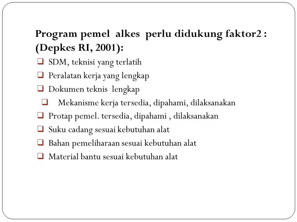 Program pemel alkes perlu didukung faktor2 : (Depkes RI, 2001):  SDM, teknisi yang terlatih  Peralatan kerja yang lengkap  Dokumen teknis lengkap 