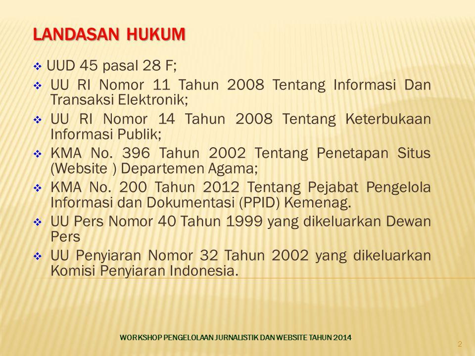 LANDASAN HUKUM  UUD 45 pasal 28 F;  UU RI Nomor 11 Tahun 2008 Tentang Informasi Dan Transaksi Elektronik;  UU RI Nomor 14 Tahun 2008 Tentang Keterbukaan Informasi Publik;  KMA No.