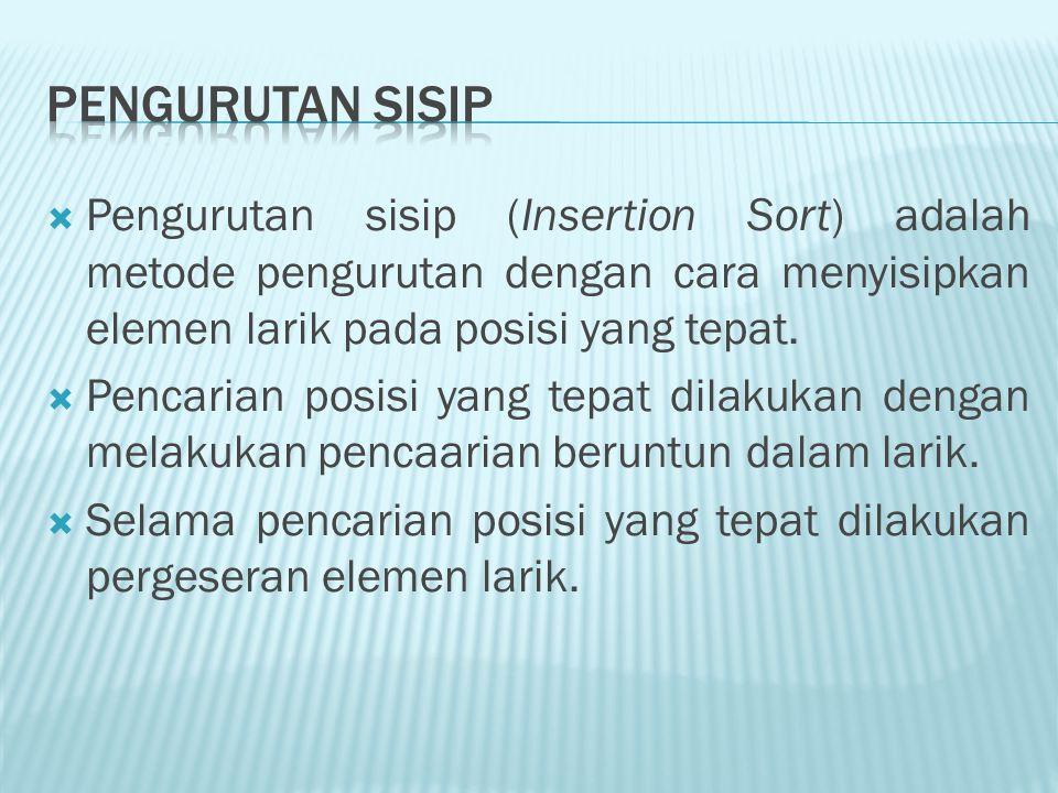  Pengurutan sisip (Insertion Sort) adalah metode pengurutan dengan cara menyisipkan elemen larik pada posisi yang tepat.