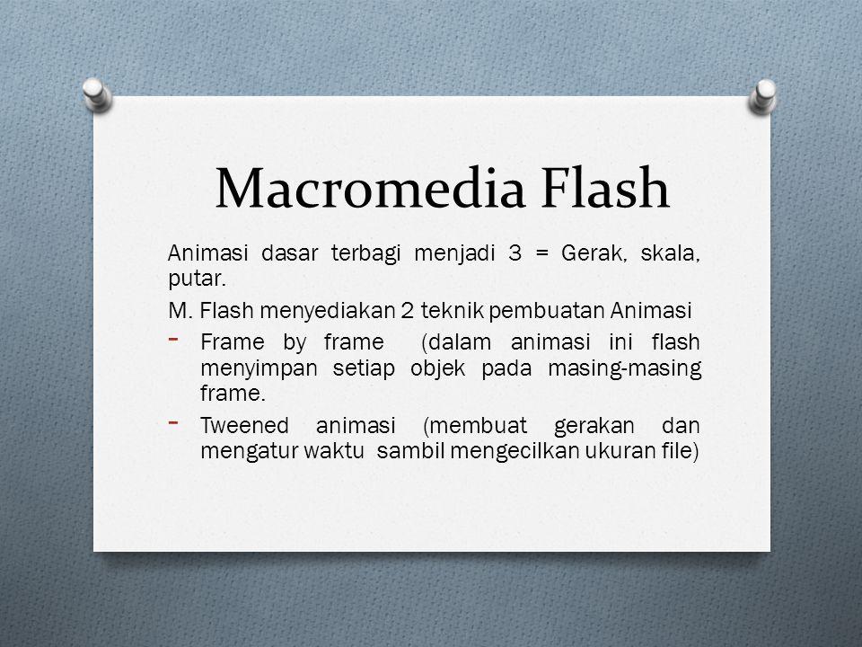 Macromedia Flash Animasi dasar terbagi menjadi 3 = Gerak, skala, putar. M. Flash menyediakan 2 teknik pembuatan Animasi - Frame by frame (dalam animas