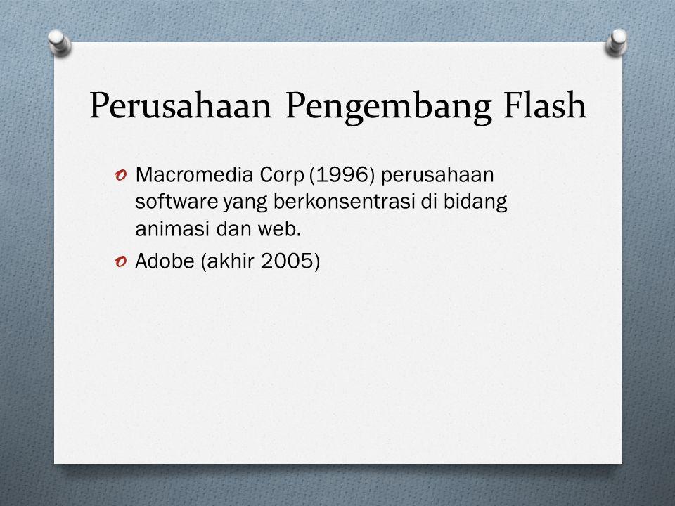 Versi Perkembangan Flash o Macromedia flash 1 o Macromedia flash 2 o Macromedia flash 3 o Macromedia flash 4 o Macromedia flash 5 o Macromedia flash 6 (Flash MX, 15 maret 2002) o Macromedia flash mx 2004 o Macromedia flash 8 (adobe flash 8) o Macromedia flash cs3