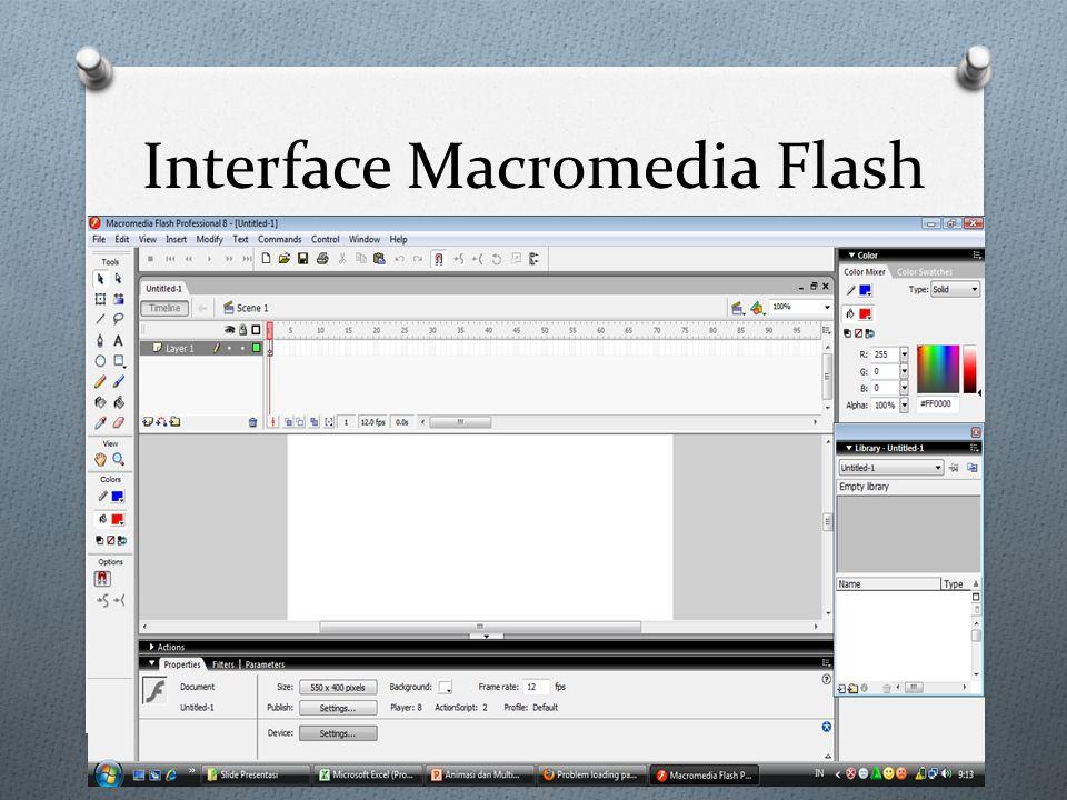 Istialah-istilah Dalam Macromedia Flash o Stage = lembar kerja flash o Tool-tool = Alat bantu untuk membuat objek pada lembar kerja Flash.