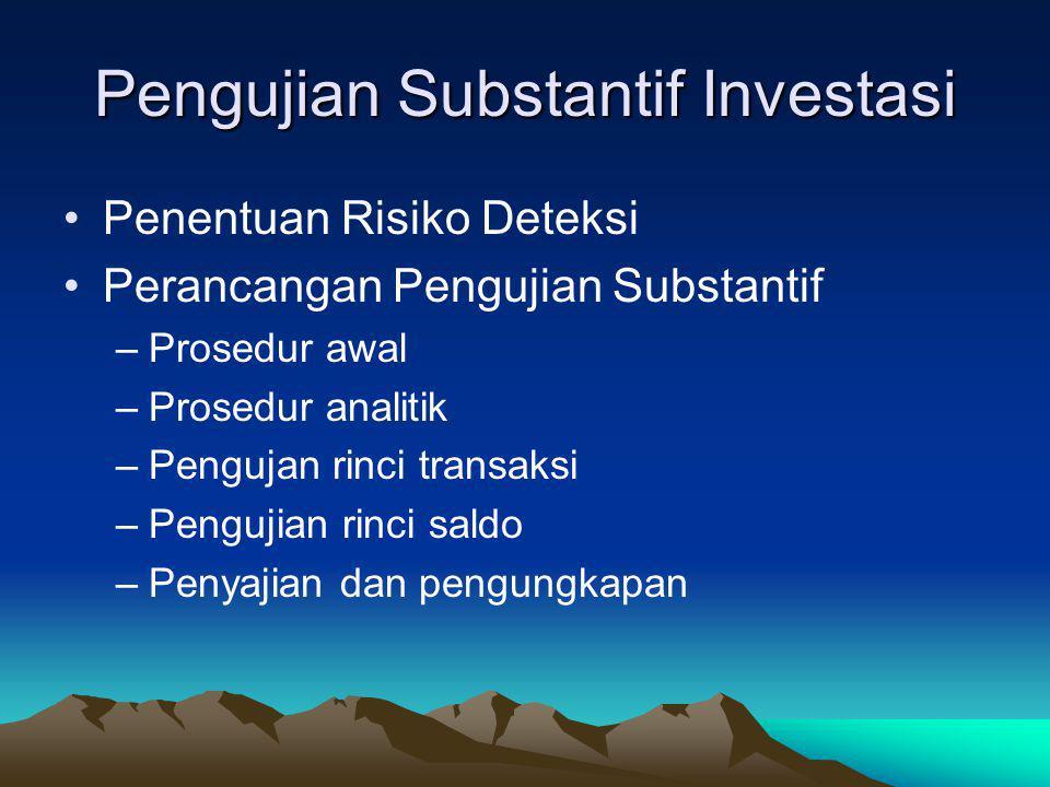 Fungsi dan Kontrol Terkait Otorisasi transaksi investasi –Pembelian sekuritas –Penjualan sekuritas Terima dan kirim sekuritas –Penerimaan/pengamanan/p