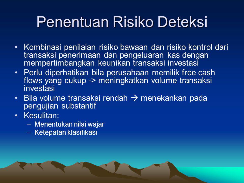 Pengujian Substantif Investasi Penentuan Risiko Deteksi Perancangan Pengujian Substantif –Prosedur awal –Prosedur analitik –Pengujan rinci transaksi –