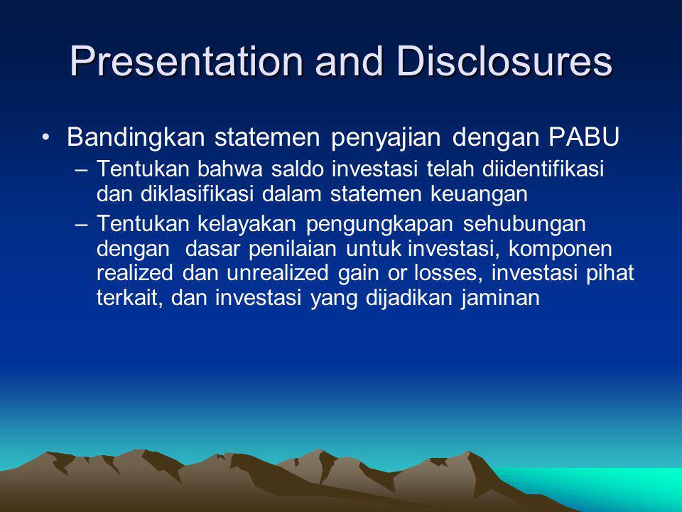 Tentukan ketepatan klasifikasi investasi untuk menggolongkan apakah termasuk : held to maturity (unamortized cost), trading securities (fair values dg