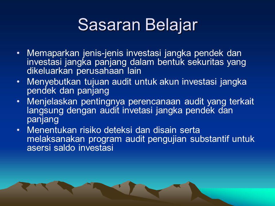 Presentation Outline Investasi Pengujian Substantif Investasi Saldo Kas Pengujian Substantif Saldo Kas Pertimbangan Lain Jasa Nilai Tambah Terkait den