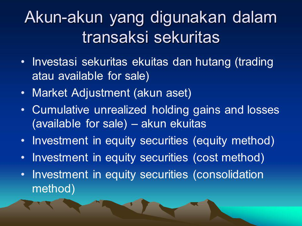 Akun-akun yang digunakan dalam transaksi sekuritas Investasi sekuritas ekuitas dan hutang (trading atau available for sale) Market Adjustment (akun aset) Cumulative unrealized holding gains and losses (available for sale) – akun ekuitas Investment in equity securities (equity method) Investment in equity securities (cost method) Investment in equity securities (consolidation method)