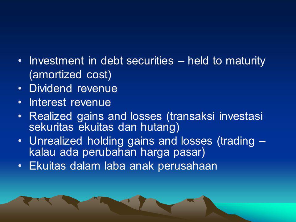 Akun-akun yang digunakan dalam transaksi sekuritas Investasi sekuritas ekuitas dan hutang (trading atau available for sale) Market Adjustment (akun as