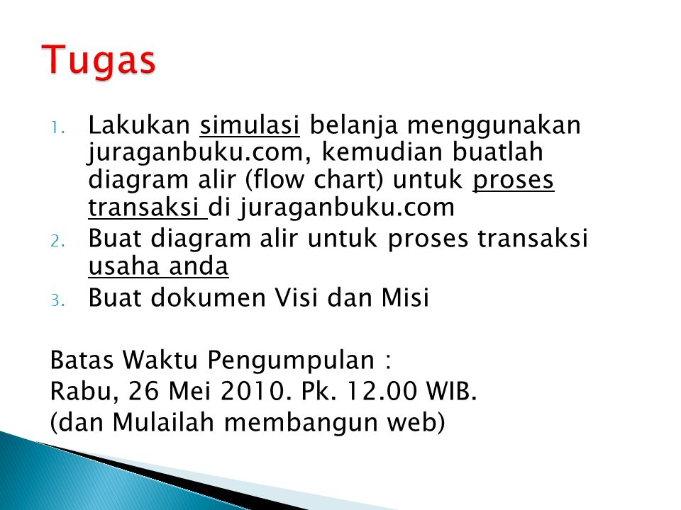 1. Lakukan simulasi belanja menggunakan juraganbuku.com, kemudian buatlah diagram alir (flow chart) untuk proses transaksi di juraganbuku.com 2. Buat