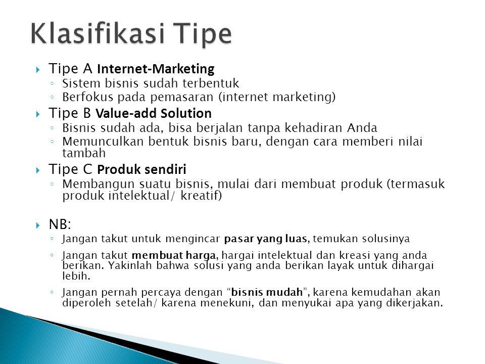  Tipe A Internet-Marketing ◦ Sistem bisnis sudah terbentuk ◦ Berfokus pada pemasaran (internet marketing)  Tipe B Value-add Solution ◦ Bisnis sudah