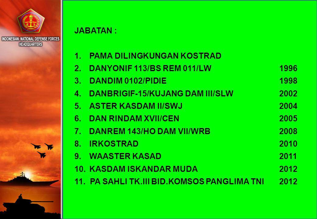 JABATAN : 1. PAMA DILINGKUNGAN KOSTRAD 2.DANYONIF 113/BS REM 011/LW 1996 3. DANDIM 0102/PIDIE 1998 4.DANBRIGIF-15/KUJANG DAM III/SLW 2002 5. ASTER KAS