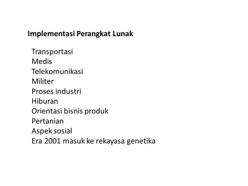 Transportasi Medis Telekomunikasi Militer Proses industri Hiburan Orientasi bisnis produk Pertanian Aspek sosial Era 2001 masuk ke rekayasa genetika Implementasi Perangkat Lunak