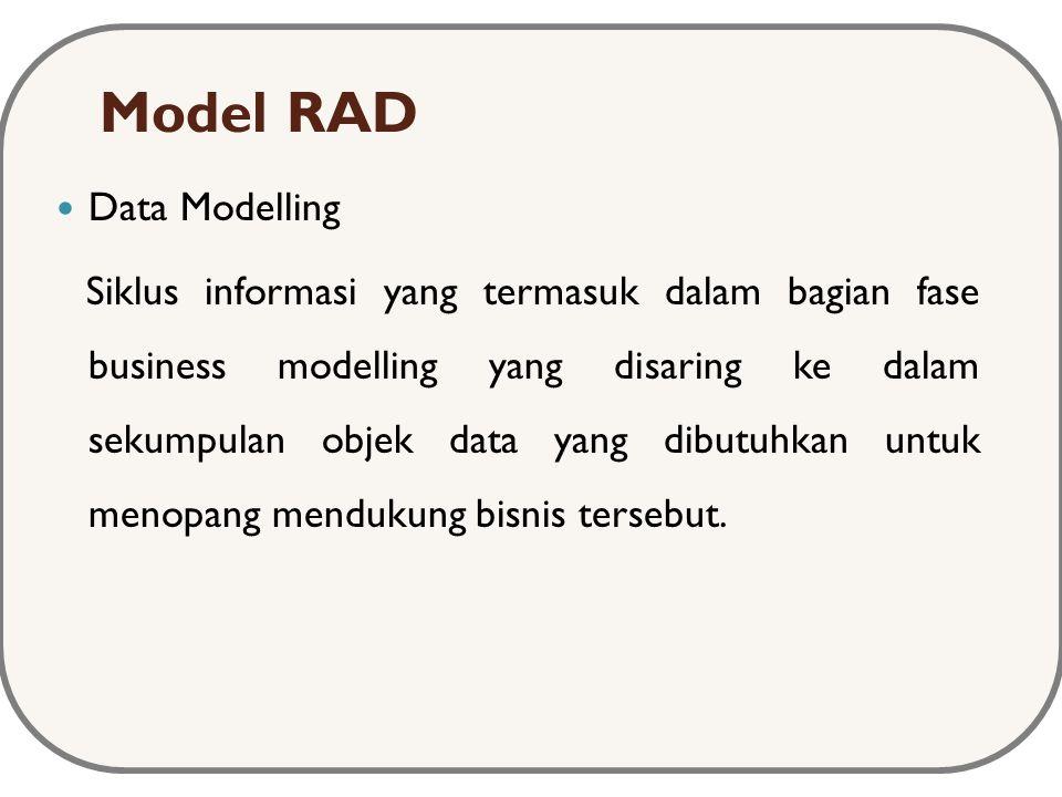 Model RAD Data Modelling Siklus informasi yang termasuk dalam bagian fase business modelling yang disaring ke dalam sekumpulan objek data yang dibutuhkan untuk menopang mendukung bisnis tersebut.