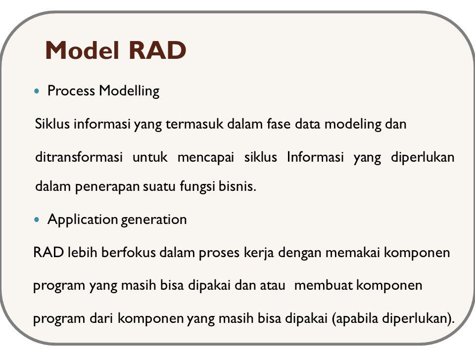 Model RAD Process Modelling Siklus informasi yang termasuk dalam fase data modeling dan ditransformasi untuk mencapai siklus Informasi yang diperlukan dalam penerapan suatu fungsi bisnis.
