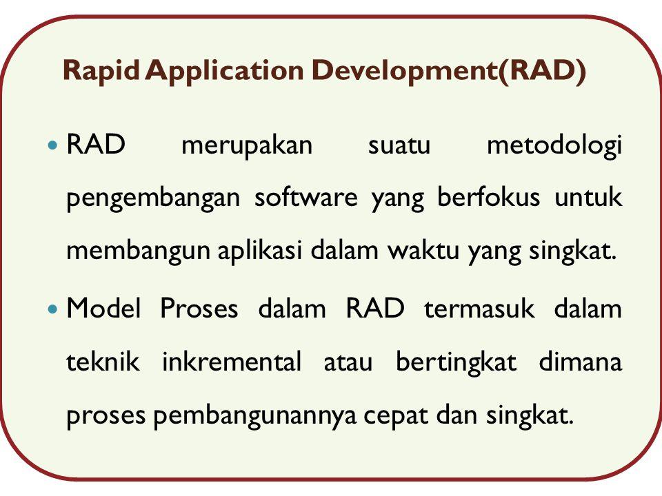 Rapid Application Development(RAD) RAD merupakan suatu metodologi pengembangan software yang berfokus untuk membangun aplikasi dalam waktu yang singkat.
