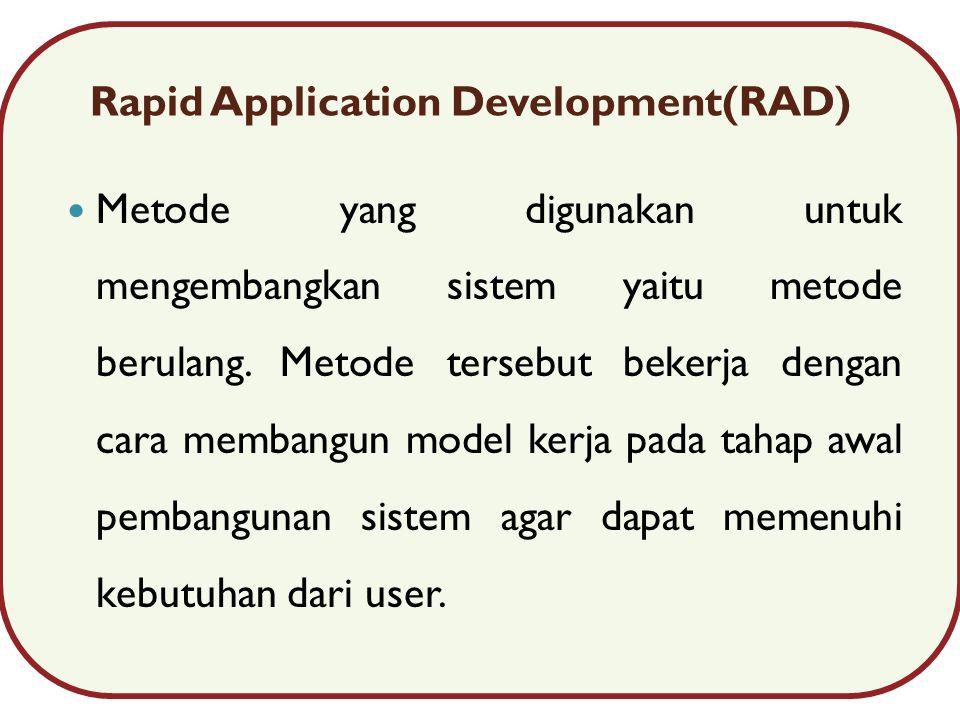 Rapid Application Development(RAD) Metode yang digunakan untuk mengembangkan sistem yaitu metode berulang.