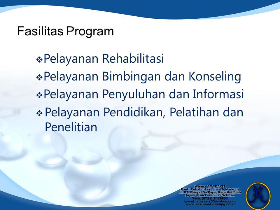  Pelayanan Rehabilitasi  Pelayanan Bimbingan dan Konseling  Pelayanan Penyuluhan dan Informasi  Pelayanan Pendidikan, Pelatihan dan Penelitian Fas