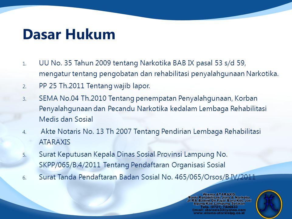 Dasar Hukum 1. UU No. 35 Tahun 2009 tentang Narkotika BAB IX pasal 53 s/d 59, mengatur tentang pengobatan dan rehabilitasi penyalahgunaan Narkotika. 2