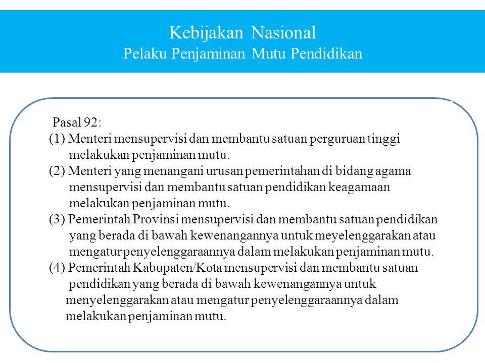 Pasal 92: (1) Menteri mensupervisi dan membantu satuan perguruan tinggi melakukan penjaminan mutu. (2) Menteri yang menangani urusan pemerintahan di b