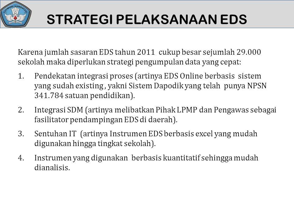 STRATEGI PELAKSANAAN EDS Karena jumlah sasaran EDS tahun 2011 cukup besar sejumlah 29.000 sekolah maka diperlukan strategi pengumpulan data yang cepat