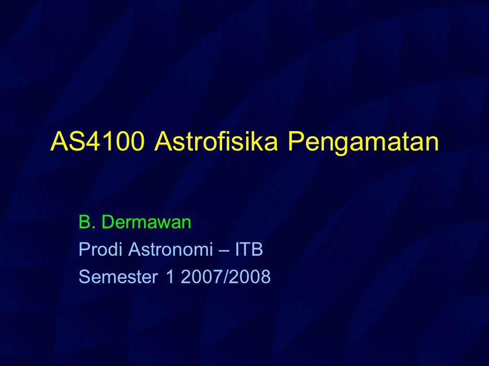 Outline Mata kuliah ini memberikan konsep dan metodologi pengamatan astronomi, termasuk di dalamnya instrumentasi, teknik dan alat bantu observasi dalam berbagai panjang gelombang dengan mempertimbangkan kendala-kendala dari atmosfer bumi