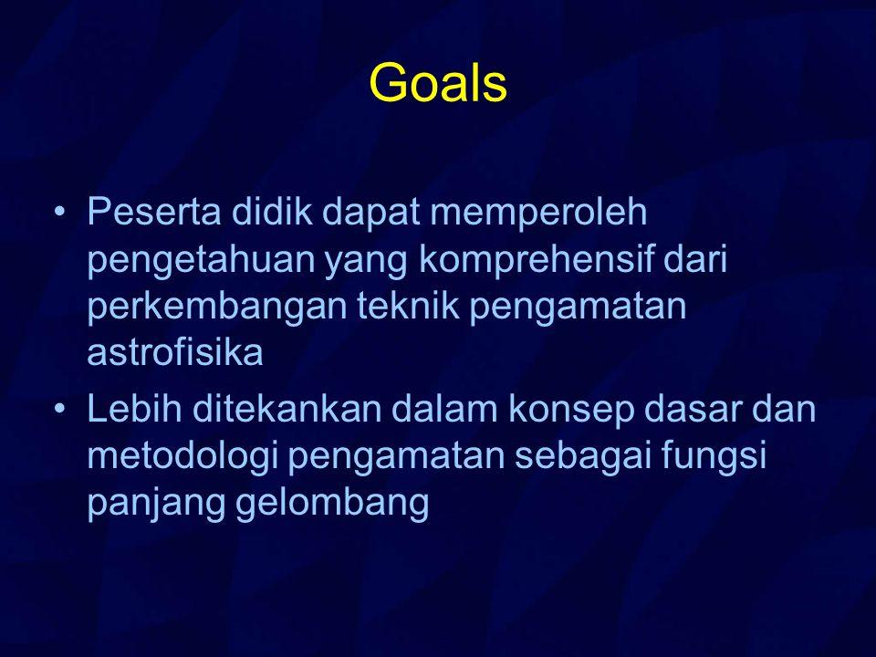 Goals Peserta didik dapat memperoleh pengetahuan yang komprehensif dari perkembangan teknik pengamatan astrofisika Lebih ditekankan dalam konsep dasar dan metodologi pengamatan sebagai fungsi panjang gelombang