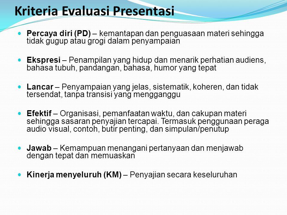 Kriteria Evaluasi Presentasi Percaya diri (PD) – kemantapan dan penguasaan materi sehingga tidak gugup atau grogi dalam penyampaian Ekspresi – Penampi