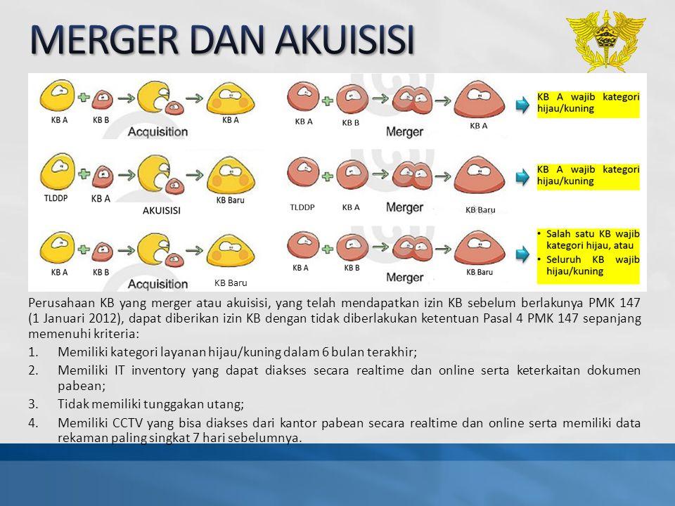 Perusahaan KB yang merger atau akuisisi, yang telah mendapatkan izin KB sebelum berlakunya PMK 147 (1 Januari 2012), dapat diberikan izin KB dengan ti