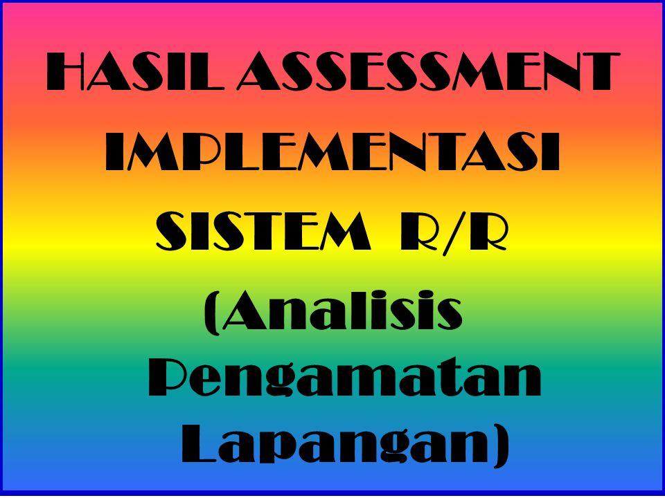 HASIL ASSESSMENT IMPLEMENTASI SISTEM R/R (Analisis Pengamatan Lapangan)