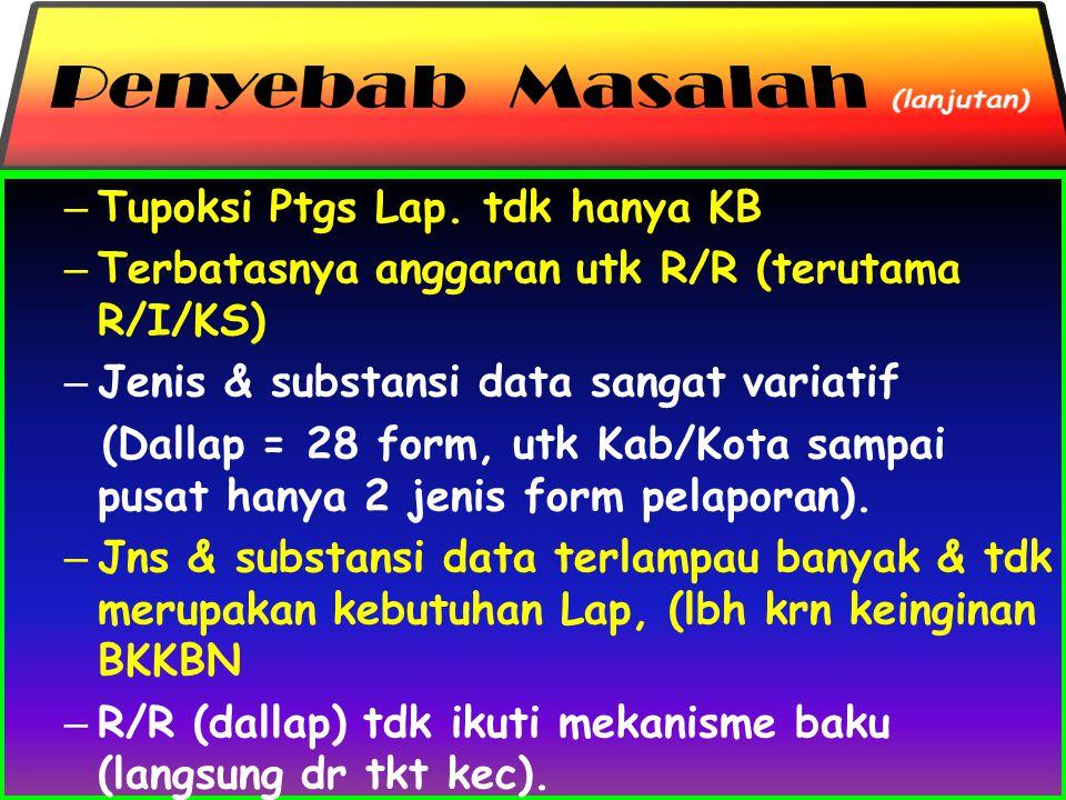 – Tupoksi Ptgs Lap. tdk hanya KB – Terbatasnya anggaran utk R/R (terutama R/I/KS) – Jenis & substansi data sangat variatif (Dallap = 28 form, utk Kab/