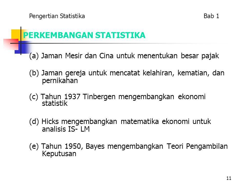 11 PERKEMBANGAN STATISTIKA (a) Jaman Mesir dan Cina untuk menentukan besar pajak (b) Jaman gereja untuk mencatat kelahiran, kematian, dan pernikahan (