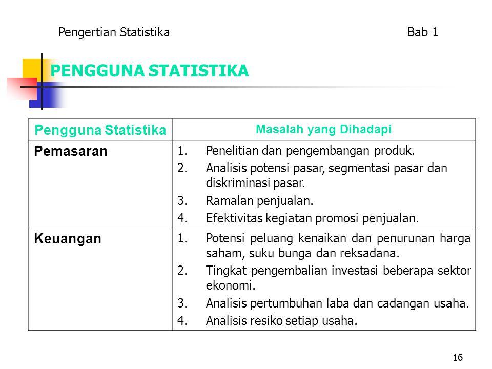 16 PENGGUNA STATISTIKA Pengguna Statistika Masalah yang Dihadapi Pemasaran 1.Penelitian dan pengembangan produk. 2.Analisis potensi pasar, segmentasi