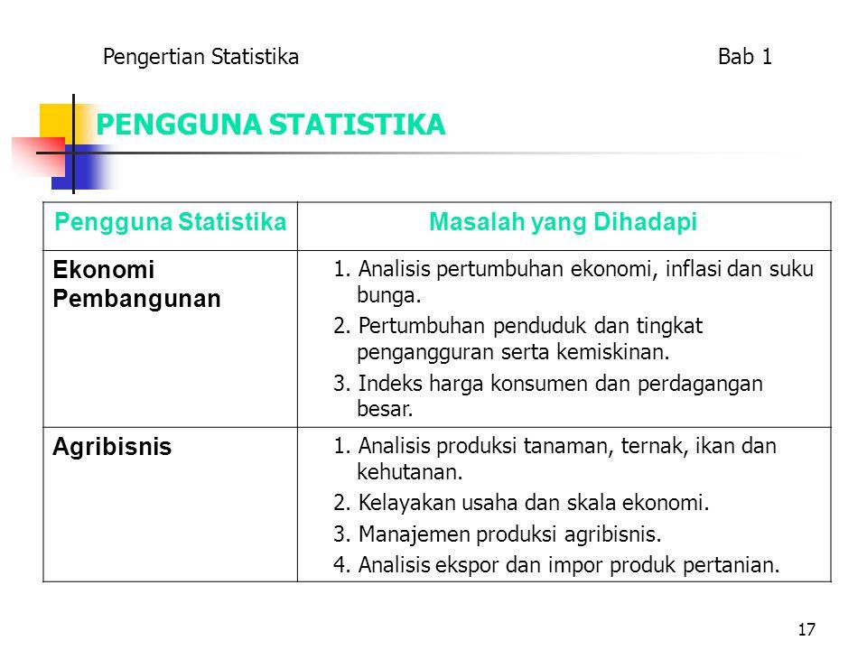 17 PENGGUNA STATISTIKA Pengguna StatistikaMasalah yang Dihadapi Ekonomi Pembangunan 1. Analisis pertumbuhan ekonomi, inflasi dan suku bunga. 2. Pertum