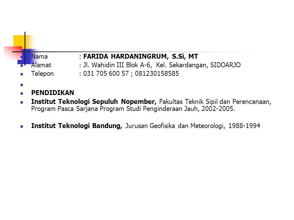 Nama : FARIDA HARDANINGRUM, S.Si, MT Alamat : Jl. Wahidin III Blok A-6, Kel. Sekardangan, SIDOARJO Telepon : 031 705 600 57 ; 081230158585 PENDIDIKAN