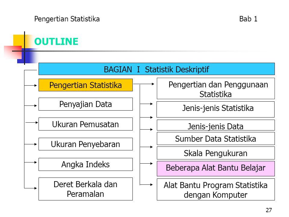 27 OUTLINE BAGIAN I Statistik Deskriptif Pengertian Statistika Penyajian Data Ukuran Penyebaran Ukuran Pemusatan Angka Indeks Deret Berkala dan Perama