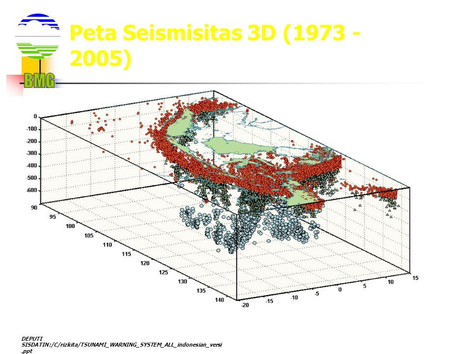 DEPUTI SISDATIN:/C/rizkita/TSUNAMI_WARNING_SYSTEM_ALL_indonesian_versi.ppt Peta Seismisitas 3D (1973 - 2005)