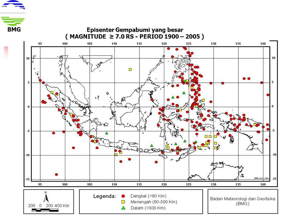Episenter Gempabumi yang besar ( MAGNITUDE ≥ 7.0 RS - PERIOD 1900 – 2005 ) BMG