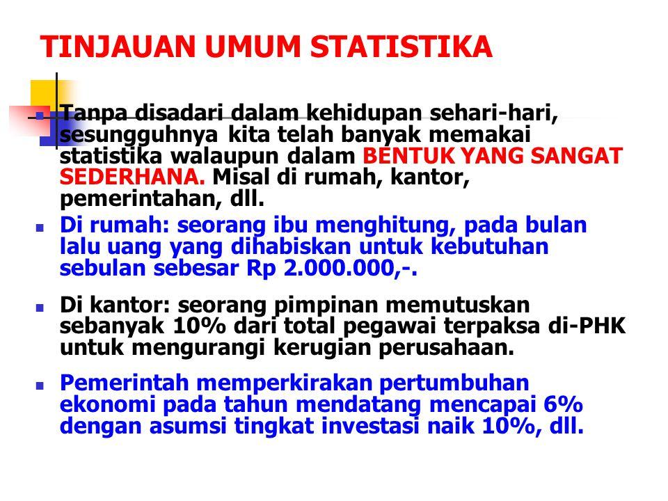 TINJAUAN UMUM STATISTIKA Tanpa disadari dalam kehidupan sehari-hari, sesungguhnya kita telah banyak memakai statistika walaupun dalam BENTUK YANG SANG