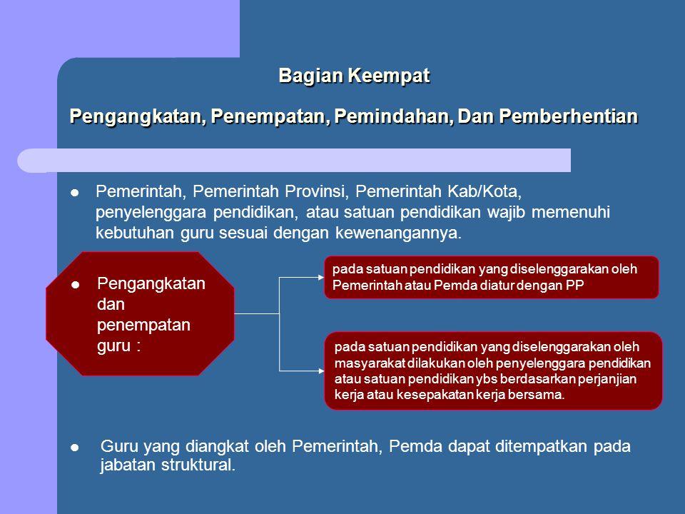 Bagian Keempat Pengangkatan, Penempatan, Pemindahan, Dan Pemberhentian Pemerintah, Pemerintah Provinsi, Pemerintah Kab/Kota, penyelenggara pendidikan,