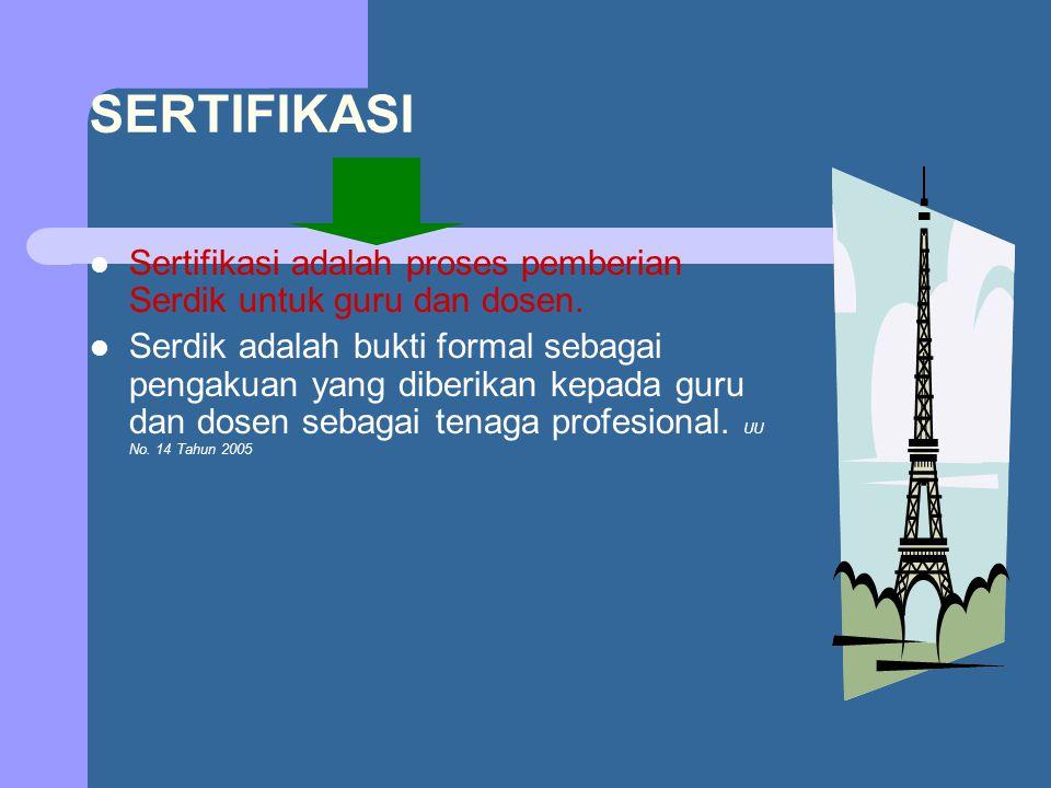 SERTIFIKASI Sertifikasi adalah proses pemberian Serdik untuk guru dan dosen. Serdik adalah bukti formal sebagai pengakuan yang diberikan kepada guru d